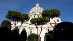 A view of St. Peter's Basilica from the Vatican Gardens