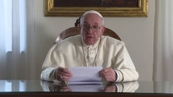 Pope Francis appears in a video message