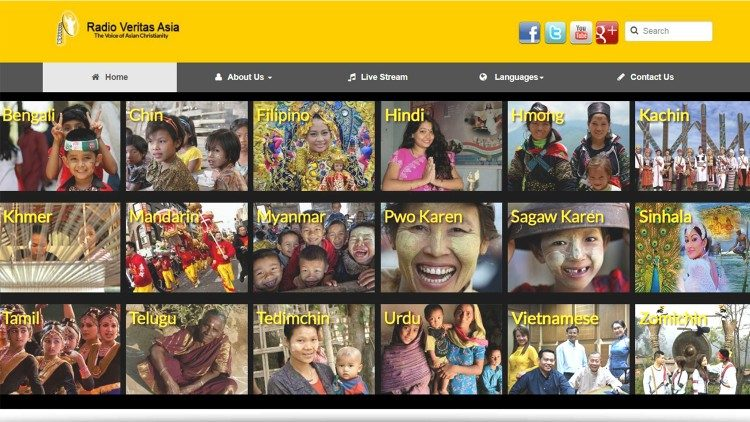 Homepage of Radio Veritas Asia.