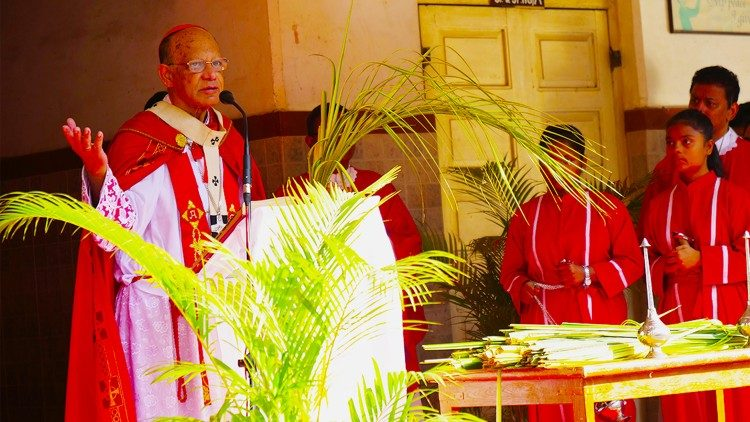 Cardinal Oswald Gracias leading the Palm Sunday Mass on April 14, 2019.