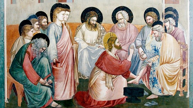 Painting of Jesus washing the feet