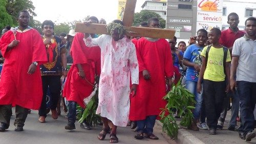The faithful of St Theresa's Cathedral in Livingstone, Zambia, re-enact the Passion of Christ with a procession through the city, on Good Friday.