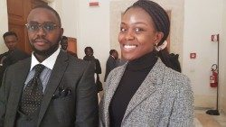 Kenya' Strathmore University students: Victor Ndambuki Nzioki and Louisa Ochilo recently on a visit at Rome's Santa Croce University