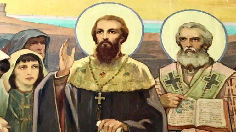 Saints Cyrille et Méthode, fêtés le 14 février par l'Église catholique, le 11 mai par l'Église orthodoxe.