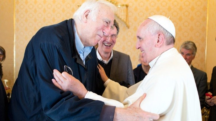 Pope Francis receives Jean Vanier in audience in the Vatican on 21 March 2014