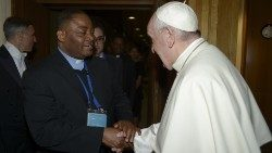 Nigerian Jesuit Priest, Fr Ikechi Ikena of the Dicastery for Human Development greeting Pope Francis