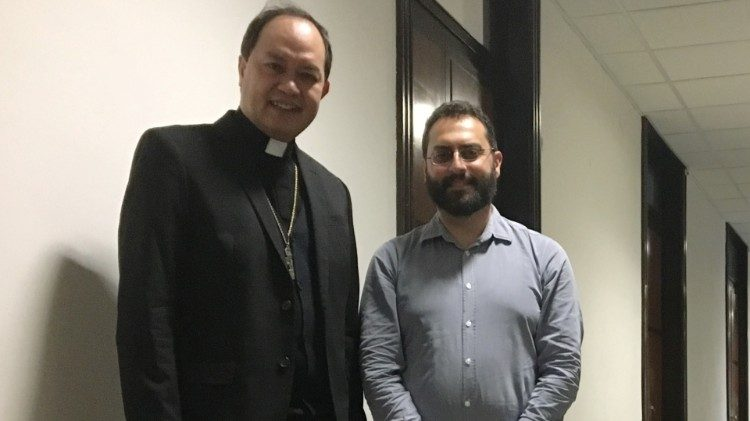 Bishop Pablo Virgilio David with Vatican News' Mario Galgano