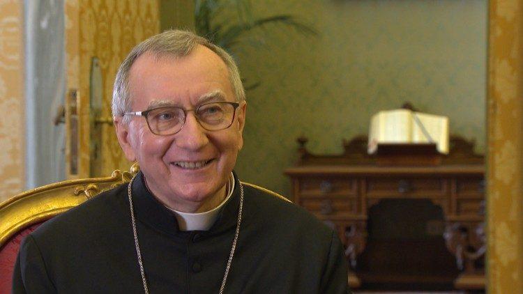 Cardinal Pietro Parolin during his interview with Vatican News