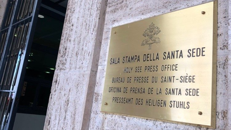 Placard outside the Holy See Press Office