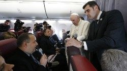 Pope Francis meeting media persons on his flight back from Romania on June 3, 2019.