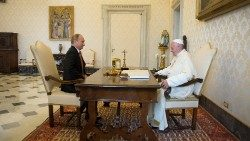 Pope Francis and Vladimir Putin meeting in the Vatican on in June 2015.