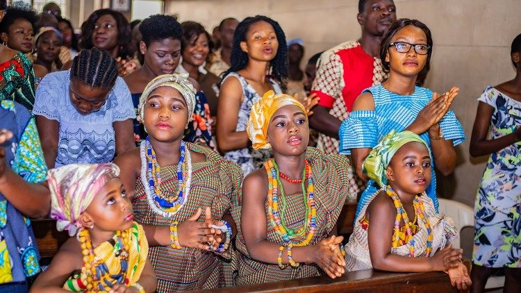 Parishioners of St Kizito Parish in Accra, Ghana