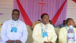 Bishop Denis Isizoh (centre) Auxiliary Bishop of Onitsha in Nigeria
