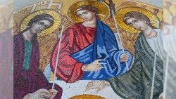Mosaic iconographic work of the Holy Trinity