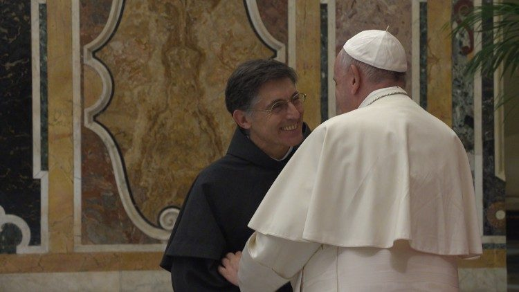 Pope Francis greets the new OFM Conv. Minister General, Carlos Trovarelli