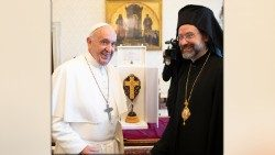 Pope Francis with a delegate from the Ecumenical Patriarchate of Constantinople