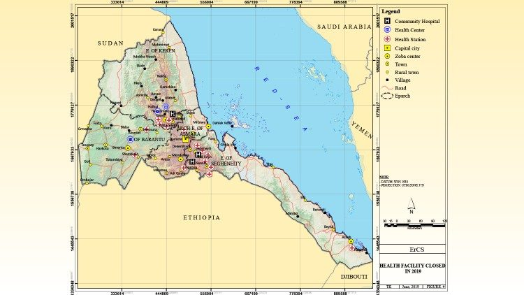 Map of Eritrea marked with all the Catholic-run clinics