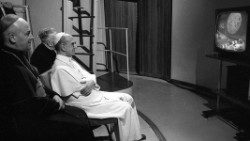 Pope Paul VI watches the moonlanding on television on 20 July 1969