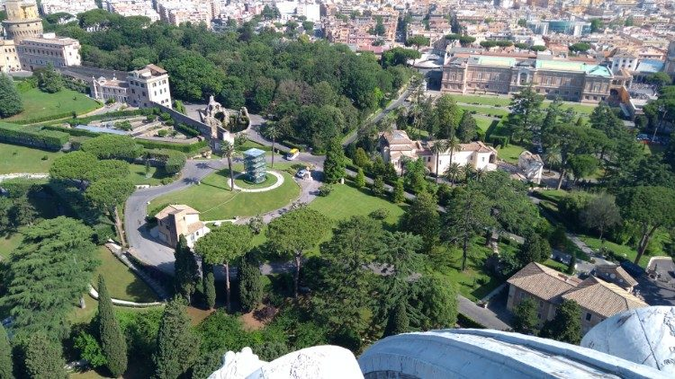A view of a section the Vatican Gardens from the cupola of St. Peter's Basilica.