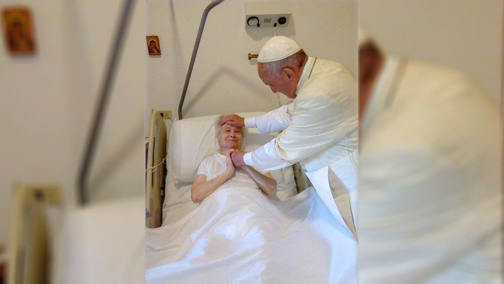 Pope Francis blesses Sister Maria during his Sunday visit