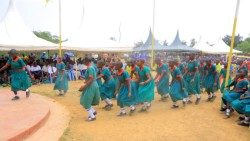 Sirimba Parish school children celebrate the inauguration of their hotel