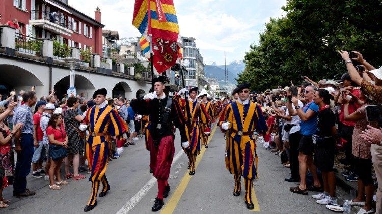 Gwardia Szwajcarska na festiwalu Fête des Vignerons