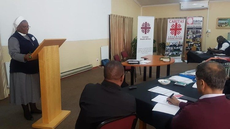 Southern African Catholic Bishops' Conference Secretary-General, Sr Hermenegild Makoro CPS, addresses a Caritas South Africa Assembly