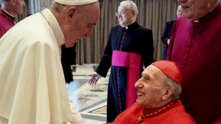 Pope Francis and Cardinal Roger Etchegaray.