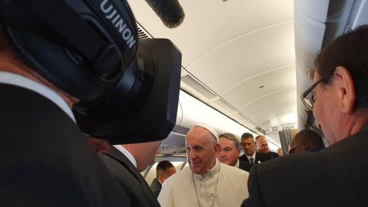 Pope Francis on the plane on his way to Mozambique