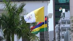 Vatican and Mauritian flags fly in Port Louis as the island awaits the Pope's arrival - photo by Fr Russell Pollitt SJ
