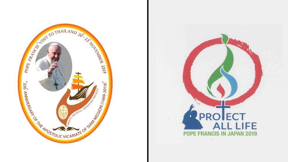 Logos de la visita del Papa a Japón y Tailandia