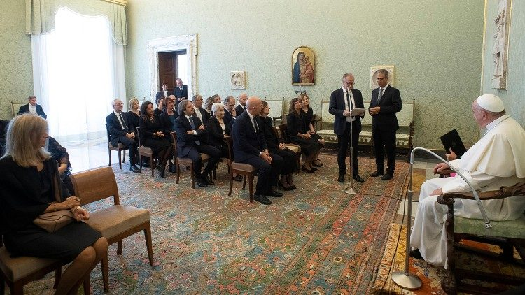 Pope Francis receives journalists from Italian RAI television's local news channel