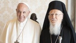 Pope Francis and Ecumenical Patriarch Bartholomew of Constantinople.