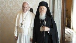 File photo of Pope Francis and Patriarch Bartholomew on 17 September 2019