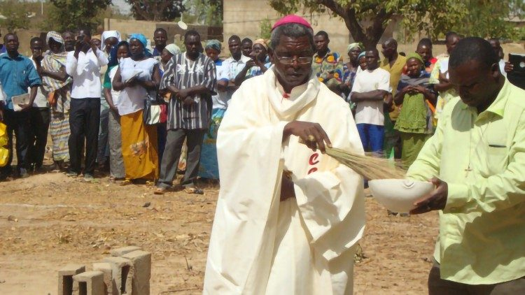 (File photo) A Bishop blesses a church building site in Fada N'Gourma