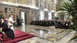 Pope Francis meeting representatives of the Italian orders of surgeons and dentists.