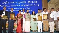 India's National Tourism Award winners, 2017-2018.  Fr. Tomy Joseph (extreme left).