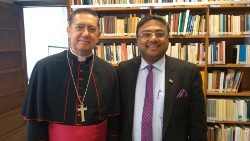 Ambassador Sibi George (R) with Bishop Miguel Ayuso Guixot, President of the Pontifical Council for Inter-religious Dialogue, in the Vatican.