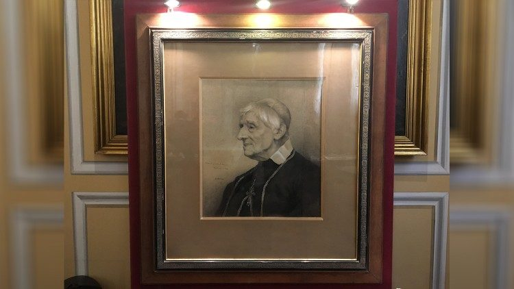 Portrait of Cardinal John Henry Newman at a Venerable English College exhibition