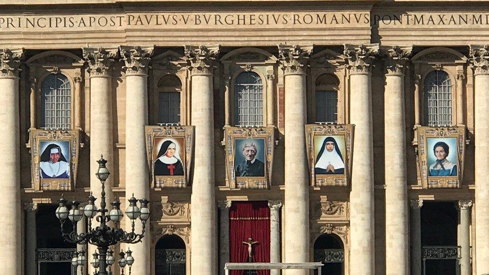 Facade of St. Peter's Basilica ahead of the canonization