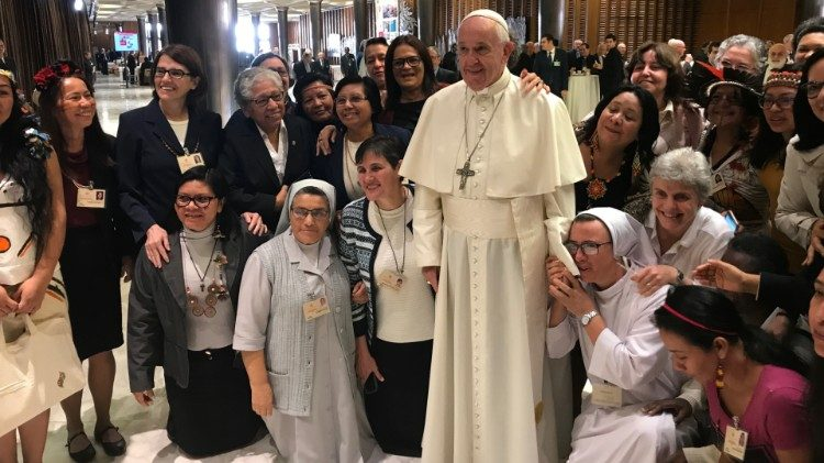 Pope Francis with a group of women religious and laywomen attending the Synod