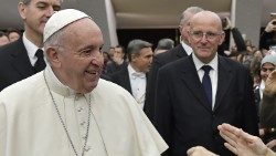 Commander Domenico Giani (R) with Pope Francis