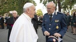Pope Francis and Domenico Giani.