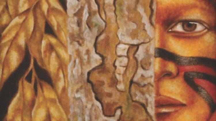 Obra de Mari Bueno, artista brasileña que expuso en Roma durante el Sínodo para la Amazonía.