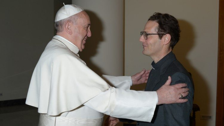 Fr Renzo De Luca SJ with Pope Francis on 18 March 2014