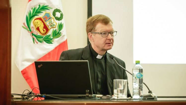 Father Hans Zollner, SJ, addressing a gathering in Lima, Peru