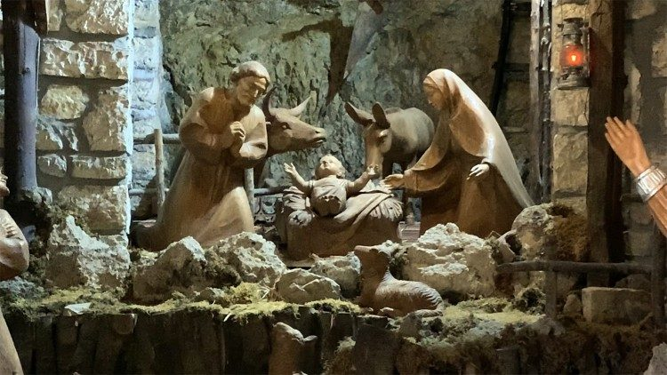 A nativity scene in the Hermitage of Greccio Sanctuary