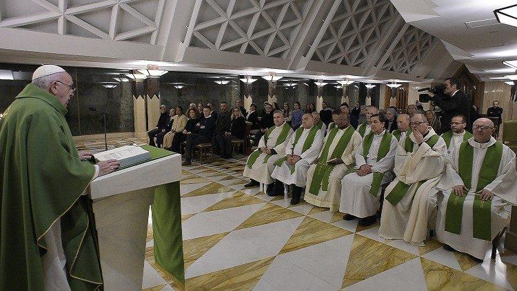 Pope Francis at Mass at Casa Santa Marta.
