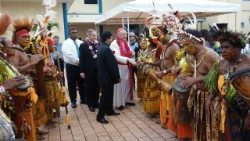 Cardinale Pietro Parolin visiting Port Moresby, Papua New Guinea, in April 2018.
