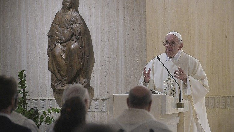 Pope Francis delivering his homily at Casa Santa Marta.